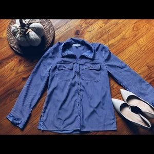 Blue and white stripe long sleeve button down